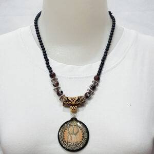 Wooden Beads Toraja Necklace With Acrylic Picture Pendant
