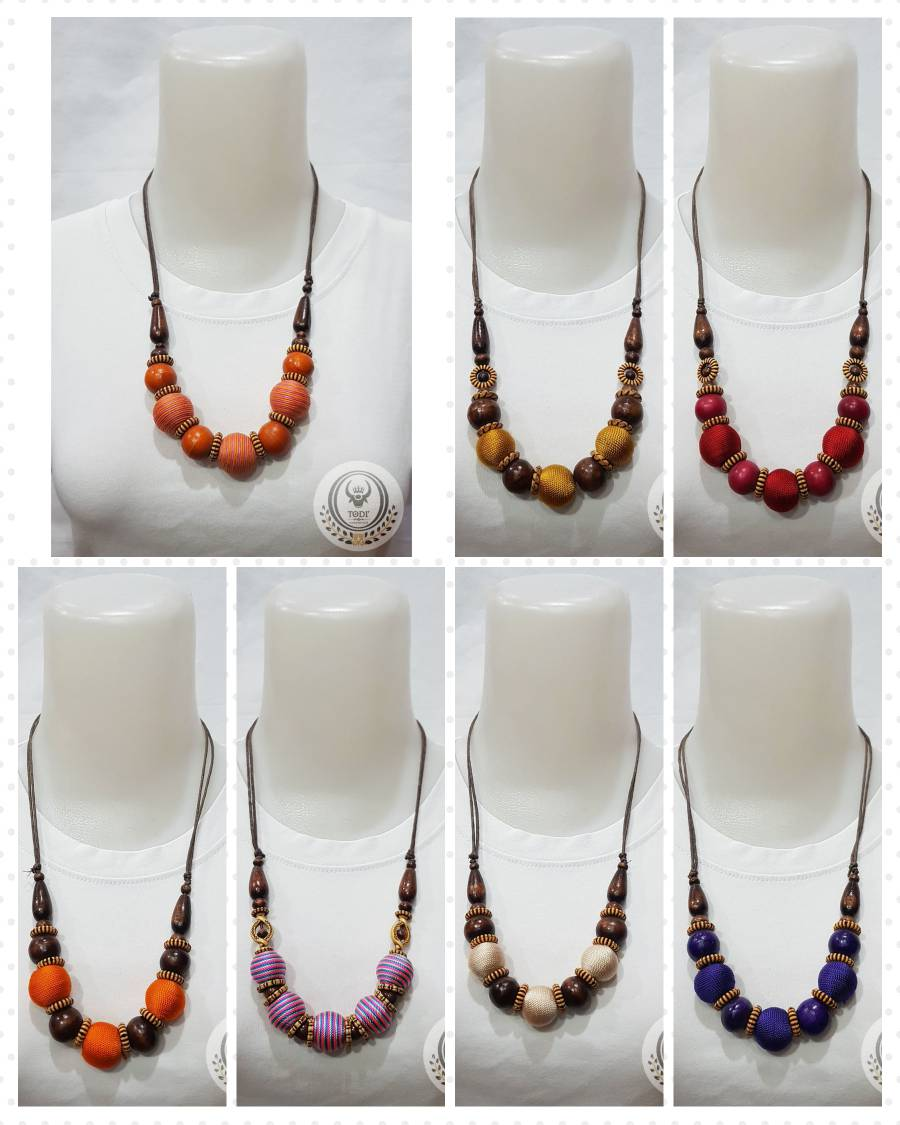 Ethnic Necklace Covered Wooden Round